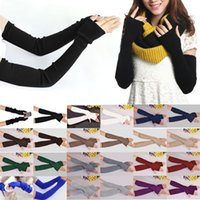 Wholesale New Fashion Autum Winter Women Ladies Girl Long Cashmere Blend Fingerless Gloves Arm Sleeve Warmers Mittens Arm Warmers cm Z2