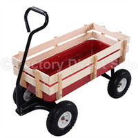 Cheap Kid Garden Cart Wood Railing Red Outdoor Wagon ALL Terrain Pulling