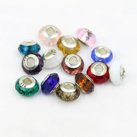 Wholesale 14MM Original New Sterling Silver Murano Crysta Glass Big Hole Loose Beads Fits For Pandora Charm Bracelet DIY Jewelry Finding