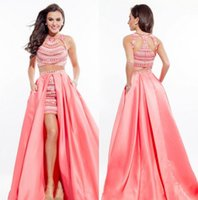 high low prom dresses - Two Piece Prom Dress Art Deco inspired Neck with High Low Short Skirt Embellished Beaded Top Soft Satin Sweet Sixteen Fashion Rachel