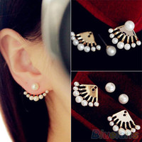 Wholesale Fashion Front Back Earrings Pearl Ear Earbobs Ear Clips Studs earrings for women SKI