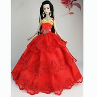 Wholesale Girl Birthday Gift Red Handmade Wedding Gown Dresses Clothes Outfit Girl Party For Princess Doll Xmas Gift