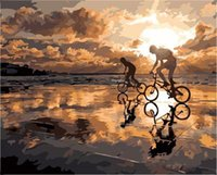 Wholesale Fashion X50cm Frameless DIY Digital Oil Canvas Painting Cycling by Numbers Kits with Pigment Home Decor Wall Decor