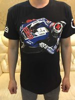 Wholesale men motorcycle clothing motorcycle Jorge Lorenzo Moto GP T shirt Summer cotton short sleeved T shirt Black