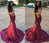 Wholesale Burgundy Mermaid Beaded Prom Dresses Off the Shoulder Gold Appliques Top Long Sleeves Gorgeous Evening Gowns