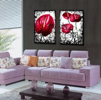 anthurium picture - Modern Anthurium Flowers Abstract Floral Painting On Canvas Giclee Print Wall Art Set20171