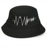 Wholesale New Fashion ECG Picture Embroidery Bucket Hat Hip Hop Bob Bucket Hats unisex Zigzag Chapeu Cap Bonnet Fisher caps