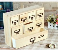 Wholesale 8pcs Drawer CM Quality Wooden Home Storage Organization Drawers Sundries Cosmetic Medicine Toys Storage Box Case Bins Cabinets