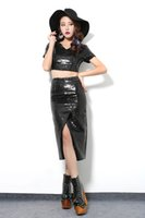 Wholesale 2016 summer new high waist short sleeved T slit skirt Heavy sequined skirt suit in black woman fashion