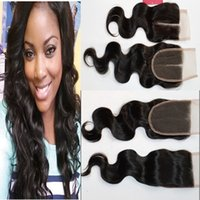 Wholesale 100 Brazilian Malaysian Indian Peruvian Vietnamese Mongolian Hair Top Lace Closure inch Body Wave Natural Color Human Hair Closure