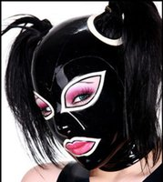 Wholesale Special Offer Latex Rubber Fetish Hood With Horsetail Hole Back Zipped S XL Black With White Trim