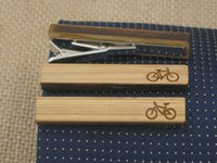 bicyle accessories - 2016 Hot Mens Tie Clip Sport Bike Bicyle Tie Bar Clips Bamboo Wood Laser Cut Jewelry Accessory