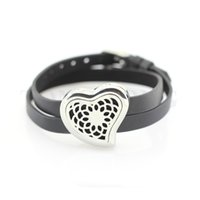 band oil - 30mm stainless steel magnetic curvy heart essential oil diffusing locket wrap bracelet locket with leather band free felt pads