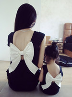 Wholesale Hug Me Mother Daughter Clothes Summer Fashion Lace Bow Sleeveless Vest Dress Mother and Daughter Outfits MK