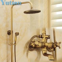 Metal antique faucet valve - Antique Brass Wall Mounted Mixer Valve Rainfall Shower Faucet Complete Sets quot Brass Shower head YT