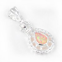 australia gemstone - Luckyshine Classic Dreamy Drop Yellow Fire Opal Gemstone Sterling Silver Crown Pendants Russia Australia USA Pendants