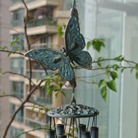 Wholesale 100 Pure Brass Butterfly Windchimes Verdigris Finish Hanging Decor Vintage Sounding Metal Wind Chime Yard Porch Garden Free Ship