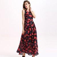american saffron - Robe Promotion Casual A line Print None Women Dress Vestidos New European And American Big Flower Saffron Chiffon Dress