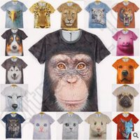 animal face tees - 3D Animals Print T Shirts Men Big Face Tees Short Sleeve Slim Tiger Cat Dog Wolf Design Polyester T Shirts CCA4512