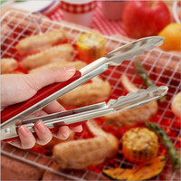 Wholesale hot sale BBQ Tongs w Silicone Cover Handle Kitchen Tongs Lock Design Barbecue Clip Clamp Stainless steel Food Tongs