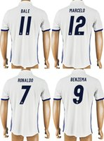Wholesale 2016 REAL MADRID Club Soccer Jerseys Home RONALDO BALE BENZEMA MARCELO Thailand Maillot de Football Shirts