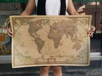 Wholesale Print Vintage Kraft Paper Poster Retro Wall Decoration Art The World Map in English Modern Decorative Painting Large Size x18 quot order lt no