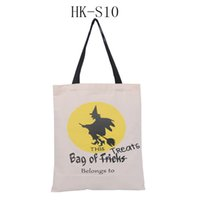 Wholesale 2016 new design Halloween Gift Bags Large Cotton Canvas Hand Bags styles Pumpkin Devil Spider Printed Halloween Candy Gift Sack Bags