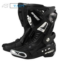Wholesale Pro biker Motorcycle Men Boots Male Boots Automobile Mid calf Racing Motocross Boots BLACK RED WHITE