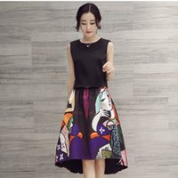 Cheap Women Wholesale Clothing 2016 Best Sale Korean Style Women Slim Fashion Character Printed 2 Pieces Set Sleeveless T-shirt And Mermaid Skirt