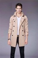 Wholesale HOT CLASSIC MEN FASHION ENGLAND MIDDLE LONG TRENCH COAT BRITISH DESIGNER DOUBLE BREASTED SLIM BELTED TRENCH FOR MEN P23010 SIZE M XXXL