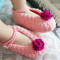 Wholesale 2016 New Crochet baby shoes cotton knits baby shoes indoor soft bottom shoes Crochet Baby Infant Toddler shoes m first walking shoes