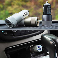 aluminium tablet - Auto Universal Metal Aluminium A Dual Port USB Car Charger Adapter for iPhone S iPad iPod Samsung HTC LG GPS Tablet PC