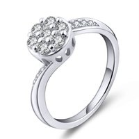 Wholesale Solid Style Sterling Silver Round Clear White Crystal Diamond CZ Prong Cubic Zirconia For Wedding Engagement Bridal Ring DL48020A