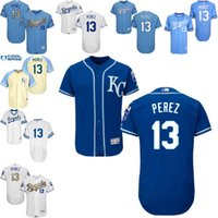 baseball world - White grey blue Salvador Perez Authentic Jersey Men s Kansas City Royals Gold Program World Series Champions FlexBase