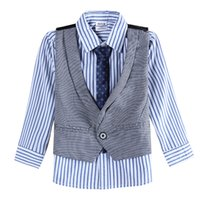 best dressed baby boy - NOVA new baby boy children s wear formal suit vest boys dress shirts cotton striped shirts best man tie