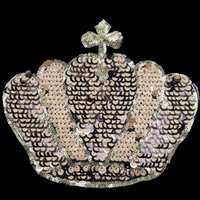 bead crown pattern - Fashion clothing accessories decorative pattern explosion DIY Sequin cloth patch applique embroidery beads gold crown sand sheet