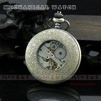 automatic quad - Skeleton Antique Automatic Mechanical Zodiac Pocket Watch Necklace Pendant Gift watch phone quad band