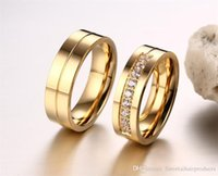 Wholesale Weeding Couple18K Gold Plain Classic L Titanium Stainless Steel for Mens Ladies One Piece Price