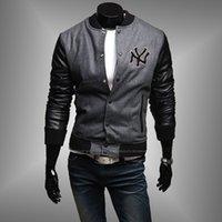 baseballs wool jacket - 2016 embroidered leather wool fabric stitching men slim collar Baseball Jacket