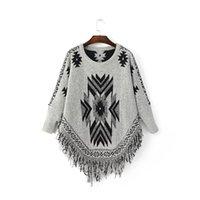 bat wings pattern - 2016 New Autumn Women s Geometry Pattern Sweater Lady s Bat wing Sleeve Tassel Pullovers Cape Poncho Sweaters Gray