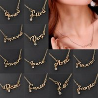 zodiac charms - Charming Zodiac Guardian Star Clavicle Chain Letter Pendant Necklace Couple Gift Necklace Fashion Necklace Jewelry