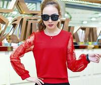 Wholesale 2016 female long sleeved shirt lace new spring fashion small shirt size short chiffon shirt blouse