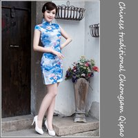 Wholesale Chinese Traditional silk Cheongsams Lotus Vintage dress water lily womanly clothing Qipao Banquet Party Dress