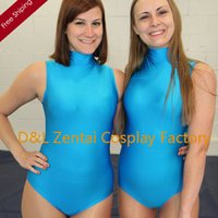Sexy Costumes adult leotard - DHL Sexy Adult Lycra Spandex Bodysuit One Piece Swimsuit Sleeveless Leotard Suits in Blue LL1202
