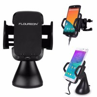 Wholesale Clear Stock FLOUREON Wireless Car Charger Coils Folding Charging Stand for Qi Enabled Phones and Tablets Smart Light Indicator
