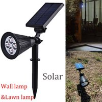 Wholesale LED Solar Powered Spotlight Rechargeable Landscape lights Waterproof Wall Security Light for Patio Lawn Garden Backyards lt no tracking