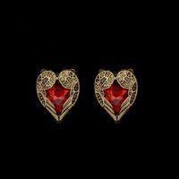 antique crystal earrings - Vintage Antique Gold Plated Heart Shape stud earrings Fashion jewelry cheap earring for women Red Crystal Rhinestone ear rings luxury