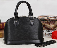 bb women - Alma BB M40301 Black Color Épi Leather Tote Removable Leather Strap Double Leather Trim Zip Closure Microfibre Lining Silver Hardward