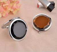 Wholesale Factory Price Mirror Crystal Stainless Cosmetic Mirror Travel Pocket Folding MakeUp Mirror Colors Options By DHL