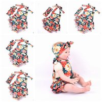baby knit dress pattern - 2016 New Summer Baby cross headband Girls Dresses Romper plus Cross headband combination Set pink flower Pattern Kids Girl knit Dress skirt